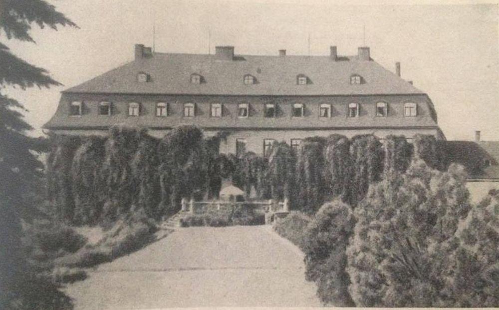 Die Parkseite des Schlosses von Leubnitz war einst romantisch bewachsen. Zu sehen ist, auf dieser Ansicht, auch noch die Schlossterasse, welche durch den Gartensaal betreten werden konnte und direkten Zugang zum Park bot.
