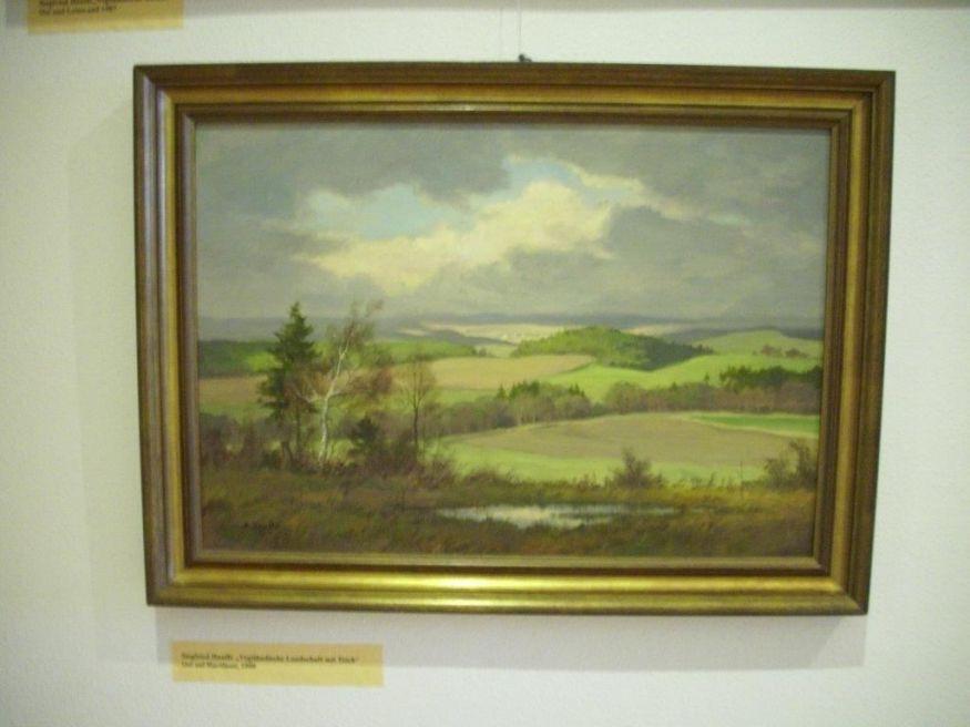Siegfried Hauffe Vogtländische Landschaft mit Teich Oel auf Hartfaser 1990